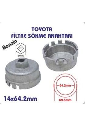 Toyota Benzinli Yağ Filtre Sökme Anahtarı-Aparatı-Tırnaklı-14 Köşe 64,2 mm