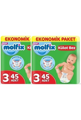 Molfix Külot Bez 3 Beden Midi Ekonomik Paket 90'lı