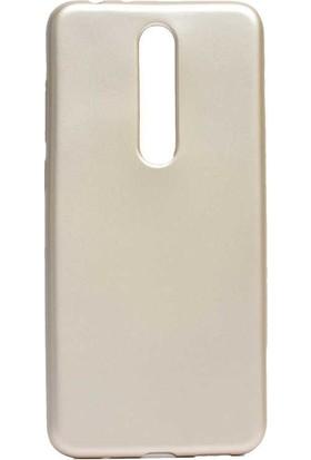 Case Street Nokia 3.1 Plus Kılıf Premier Silikon Esnek Koruma + Nano Glass Gold