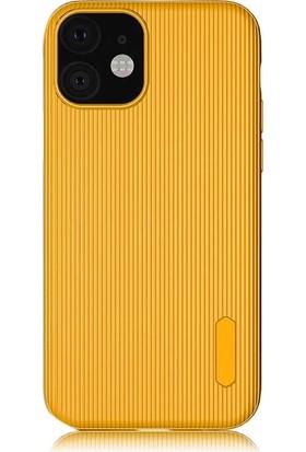 Case Street Apple iPhone 11 Kılıf Çizgili Trio Silikon Lüx Koruma + Nano Glass Sarı