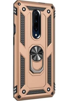 Gpack OnePlus 7 Pro Kılıf Çift Katman Zırh Koruma Yüzüklü Vega Gold