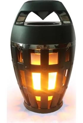 Ovleng Yanan Alev Görünümlü Işıklı Bluetooth Speaker - Siyah