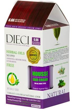 Dieci Hair Color Cream Herbal Oils Amonyaksız Saç Boyası 6.66 Dark Fire Red Blond Orta Sarı Yoğun Kızıl + Free Hair Mousse 50ML.