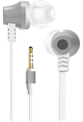 S-link SL-KU150 Mobil Uyumlu Taşıma Çantalı Kulak İçi Beyaz/Gümüş Mikrofonlu Kulaklık