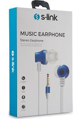 S-link SL-KU150 Mobil Uyumlu Taşıma Çantalı Kulak İçi Beyaz/Mavi Mikrofonlu Kulaklık