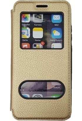 Tekno Grup Samsung Galaxy A30s Kılıf Kapaklı Pencereli Elit Kılıf - Gold