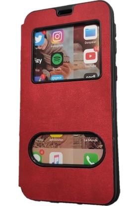 Tekno Grup Samsung Galaxy A30s Kılıf Kapaklı Pencereli Elit Kılıf - Kırmızı + Tam Kaplayan 5D Cam