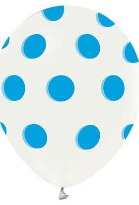 Kidspartim Açik Mavi Puantiyeli Şeffaf Balon