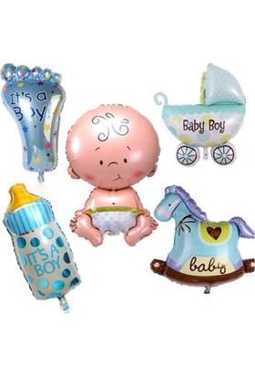 Kidspartim Mavi Bebek Folyo Balon Set
