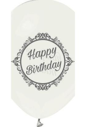 Kidspartim Şeffaf Üzeri Gümüş Happy Birtday Baskili Balon