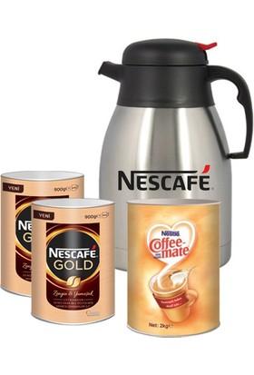 Nescafe Gold 900 gr x 2 Adet + 1 Adet Coffee Mate 2 kg Termos
