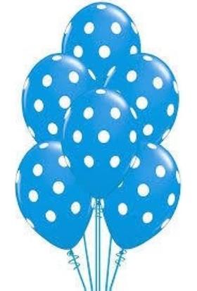 Masal Diyarı Lateks Balon Puanlı Mavi 10 'lu
