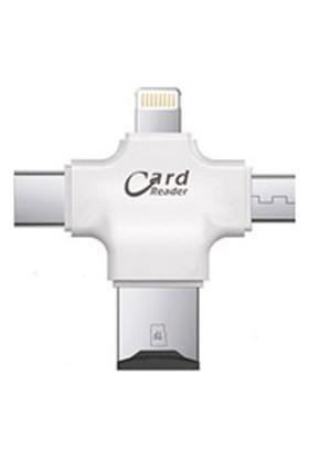 Sincap Lightning Micro USB Type-C Tf 4'lü Kart Okuyucu Reader - Beyaz