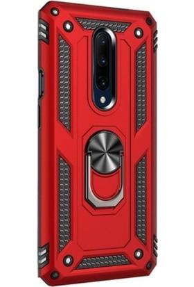 Case Street OnePlus 7 Pro Kılıf Çift Katmanlı Yüzüklü Tank Vega Koruma Kılıf Kırmızı