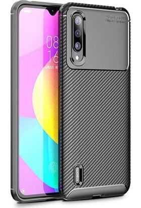 KNY Xiaomi Mi 9 Lite Kılıf Karbon Desenli Lux Negro Silikon+Cam Ekran Koruyucu