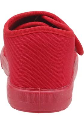 Sanbe 106P102 Okul Kreş Kız/Erkek Çocuk Keten Panduf Ayakkabı Kirmizi