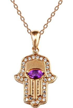 Clavis Jewelry Ametist Taşlı Fatma Eli Kolye 8 Ayar