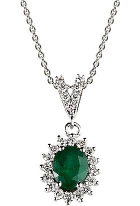 Clavis Jewelry Zümrüt Taşlı Pırlanta Kolye 18 Ayar