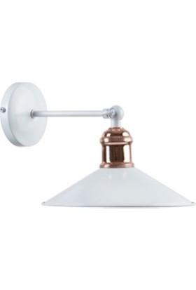 Riolight Retro Mafsallı Beyaz Metal Bakır Duylu Aplik Çap 23 cm