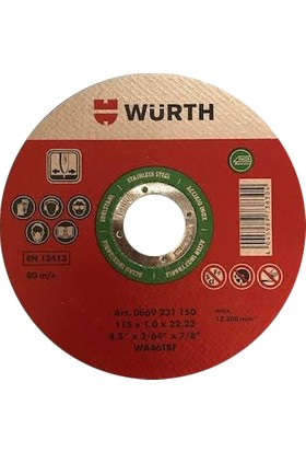 Würth 115 mm Inox Metal/krom Kesici
