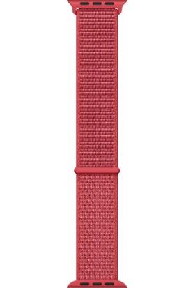 Schulzz Apple iWatch Özel Seri 42-44 mm 2-3-4-5 Uyumlu Spor Loop Dokuma Kordon - Kırmızı