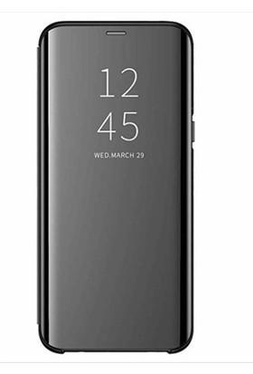 Magazabu Huawei Y6 2019 Kapaklı Kılıf Clear View Aynalı Flip Cover Wallet Kılıf Siyah
