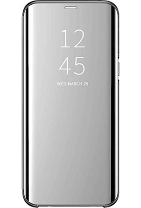 Magazabu Samsung Galaxy M30 Kapaklı Kılıf Clear View Aynalı Flip Cover Wallet Kılıf Gri
