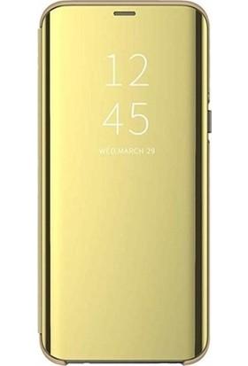 Magazabu Samsung Galaxy S7 Edge Kapaklı Kılıf Clear View Aynalı Flip Cover Wallet Kılıf Gold