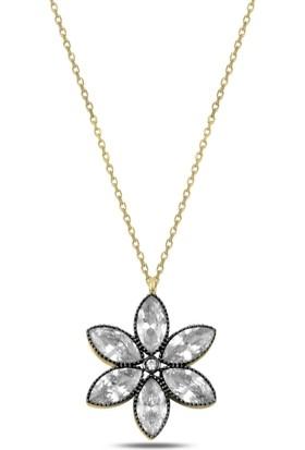 Karakaya Kuyumculuk Zirkon Taşlı Çiçek Kolye Gümüş Çiçek Kolye