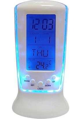 Alfa Masa Saati Renkli Oval Papatya Kalpli Model Dijital