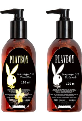Playboy Massage Oil Natural And Vanilla Fragrances 120 ml Kokusuz ve Vanilya Kokulu Vücut Masaj Yağı