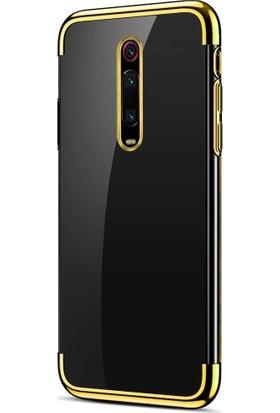Happyshop Meizu Note 8 Kılıf 4 Köşe Renkli Şeffaf Laser Silikon + Nano Cam Ekran Koruyucu Gold