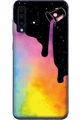 GoGo Samsung Galaxy A70 Renkli Gök Baskılı Silikon Kılıf
