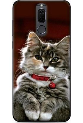 GoGo Huawei Mate 10 Lite Kırmızı Tasmalı Kedi Baskılı Silikon Kılıf