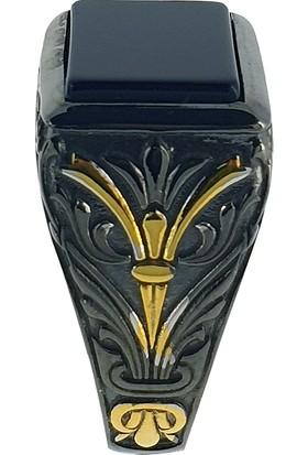 Dalman Silver Dikdörtgen Onix Taşlı Renkli Gümüş Erkek Yüzüğü