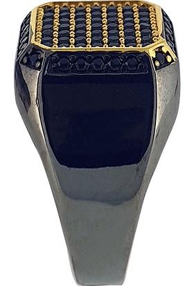 Dalman Silver Dalman Silverkare Özel Taşlı Renkli Gümüş Erkek Yüzüğü