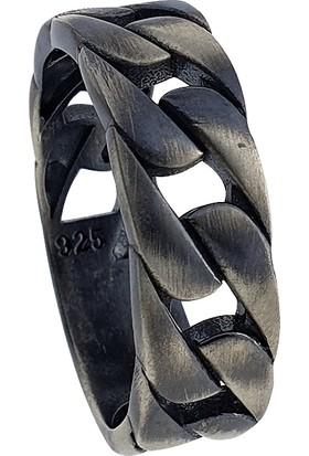 Dalman Silver Dalman Silveroksitli Zincir Formlu Gümüş Erkek Yüzüğü
