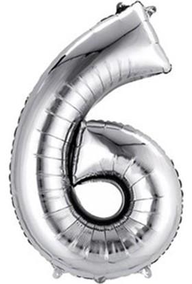 Buldum Gümüş Folyo Balon 6 Rakamı 70 cm