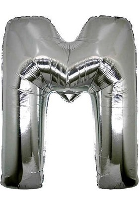 Buldum M Harfi Gümüş Folyo Balon Harf 100 cm