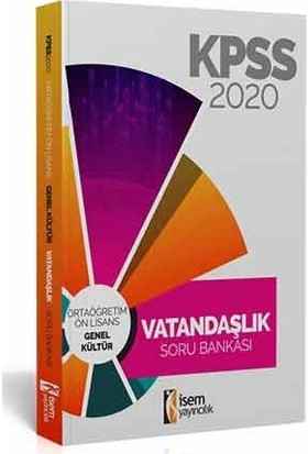 İsem Yayıncılık 2020 Evveliyat KPSS Ortaöğretim-Önlisans Vatandaşlık Tamamı Çözümlü Soru Bankası