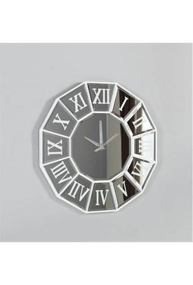 Dekor Bizden Dekoratif Ayna Saat Gümüş
