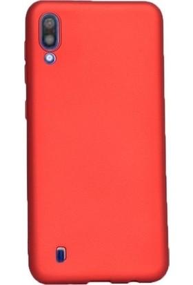 Kaltel Gsm Samsung Galaxy M10 Mat Premier Silikon Kılıf + USB Kablo + Cam Ekran Koruyucu - Kırmızı