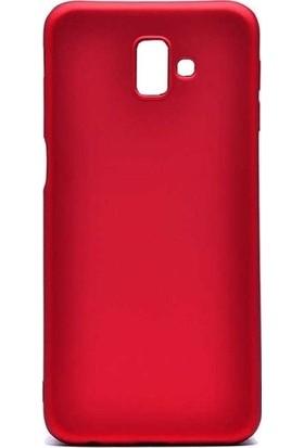 Kaltel Gsm Samsung Galaxy J6 Mat Premier Silikon Kılıf + USB Kablo + 5D Full Kaplayan Tam Koruma Tüm Ekran Koruyucu - Kırmızı