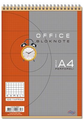 Alfa A-4 100/4 Beyaz Spiralli Bloknot (Office Blok)