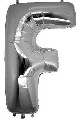 Buldum F Harfi Gümüş Folyo Balon Harf 100 cm