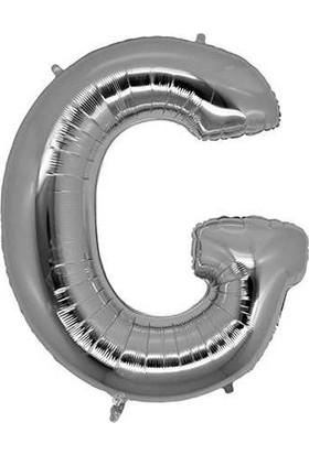 Buldum G Harfi Gümüş Folyo Balon Harf 100 cm