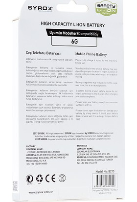 Syrox SYX-B215 Apple iPhone 6 Batarya