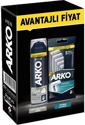 Arko Avantajlı Paket Traş Köpüğü + 5 Adet Tekli Tıraş Bıçağı