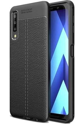 Teleplus Samsung Galaxy A30s Deri Dokulu Silikon Siyah