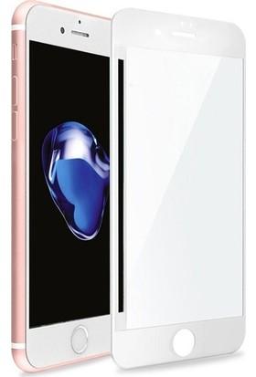 Zore Apple iPhone 8 Plus 10D Tam Kaplayan Curved Temperli Ekran Koruyucu Beyaz